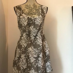 Style & Co Floral Print Smock Taupe & White 2x